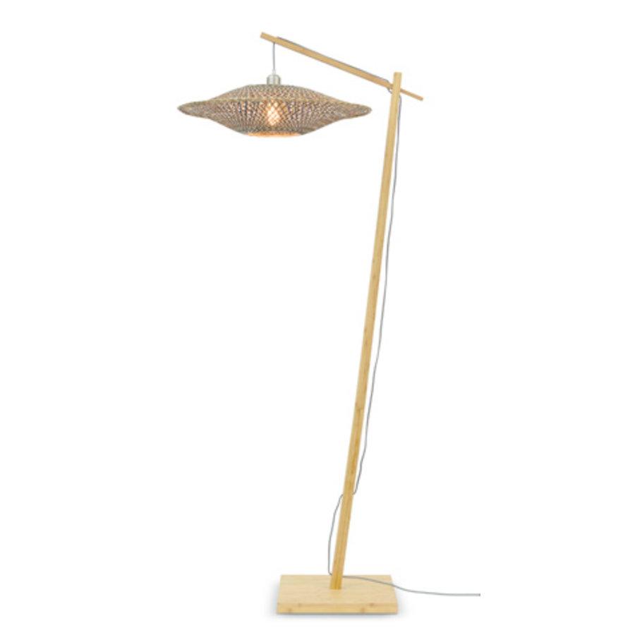 Vloerlamp Bali bamboe h.176cm/kap dia.60x15cm nat./zw. M-1