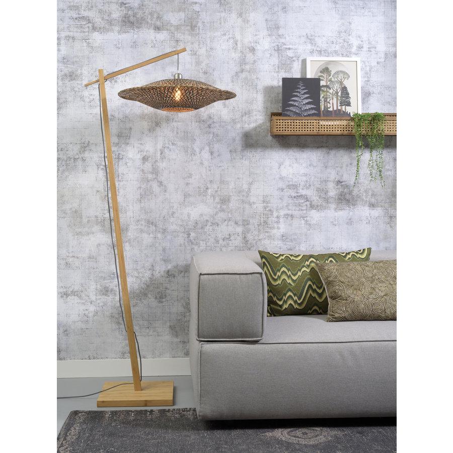Vloerlamp Bali bamboe h.176cm/kap dia.60x15cm nat./zw. M-2