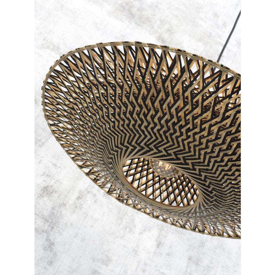 Vloerlamp Bali bamboe h.176cm/kap dia.60x15cm nat./zw. M-4