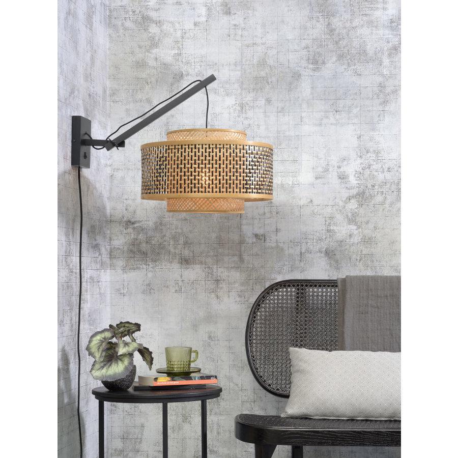 Wandlamp Bhutan bamboe zwart verstelbaar-4