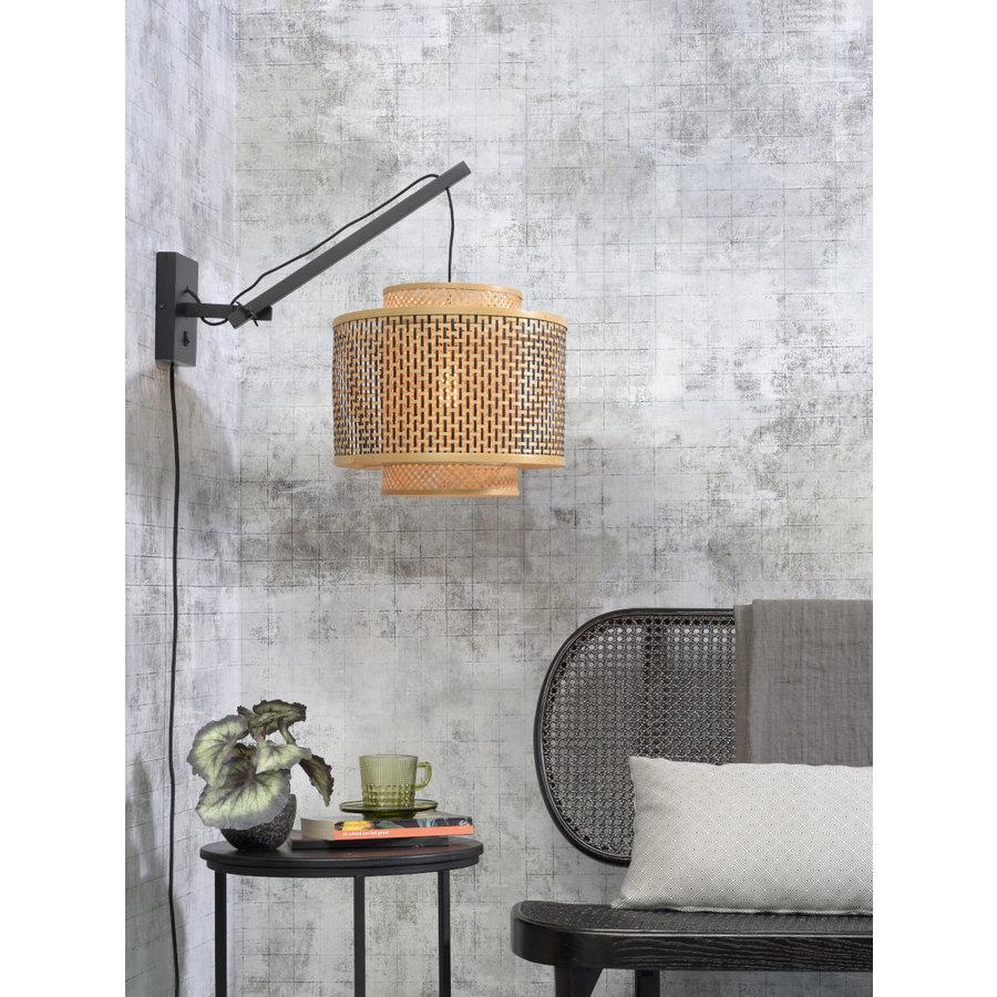 Wandlamp Bhutan bamboe zwart verstelbaar-3