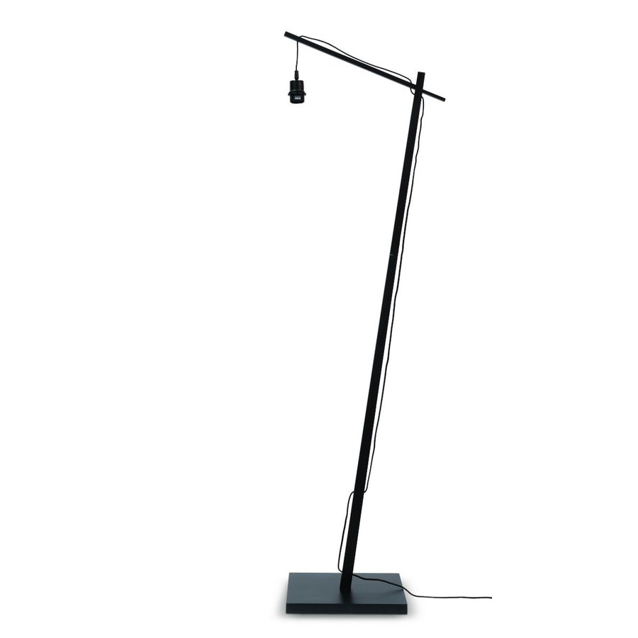 Vloerlamp BROMO bamboe zwart met lampenkap in 2 maten-9