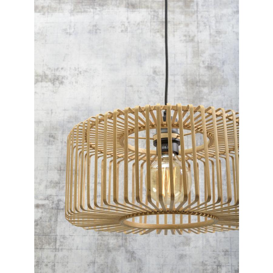 Vloerlamp BROMO bamboe zwart met lampenkap in 2 maten-8