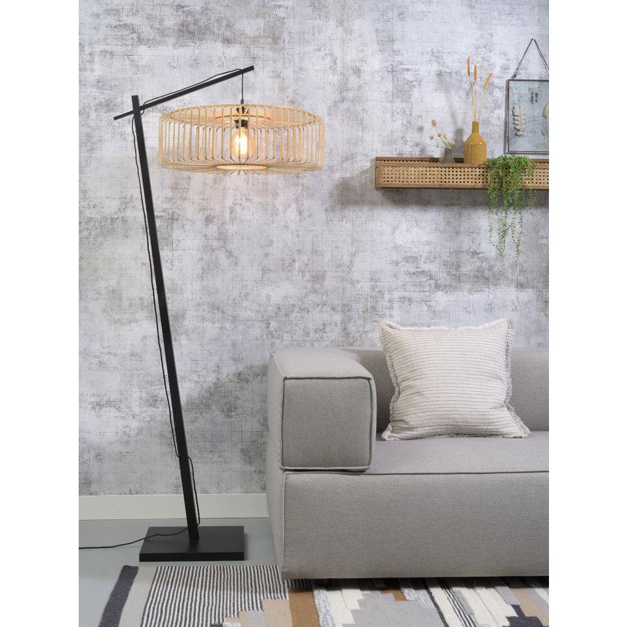 Vloerlamp BROMO bamboe zwart met lampenkap in 2 maten-4