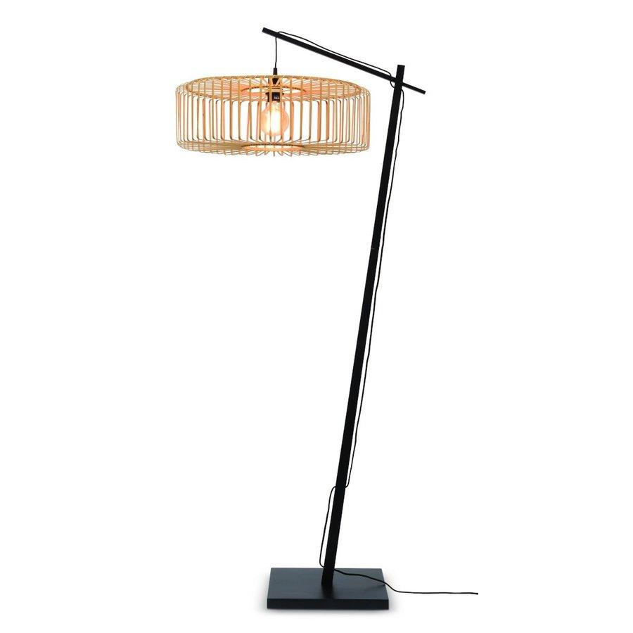 Vloerlamp BROMO bamboe zwart met lampenkap in 2 maten-2