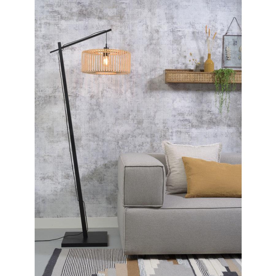 Vloerlamp BROMO bamboe zwart met lampenkap in 2 maten-3