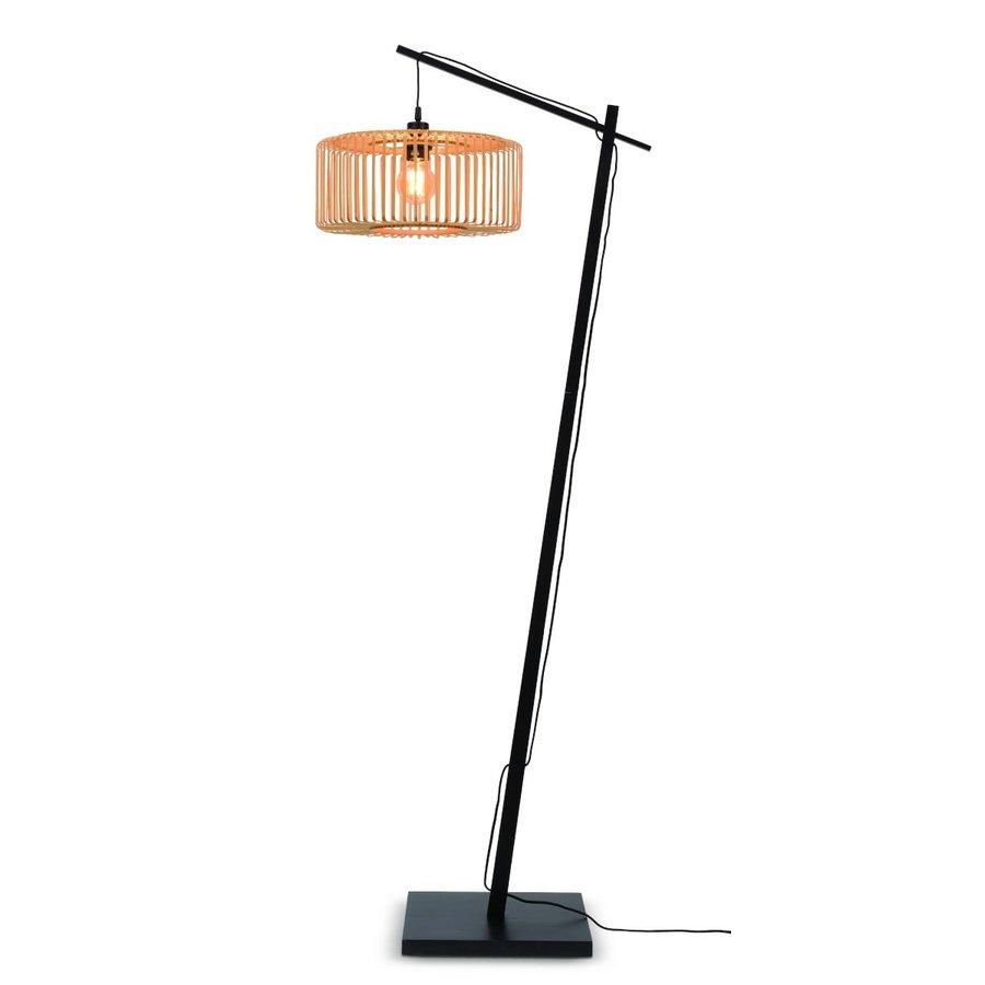 Vloerlamp BROMO bamboe zwart met lampenkap in 2 maten-1