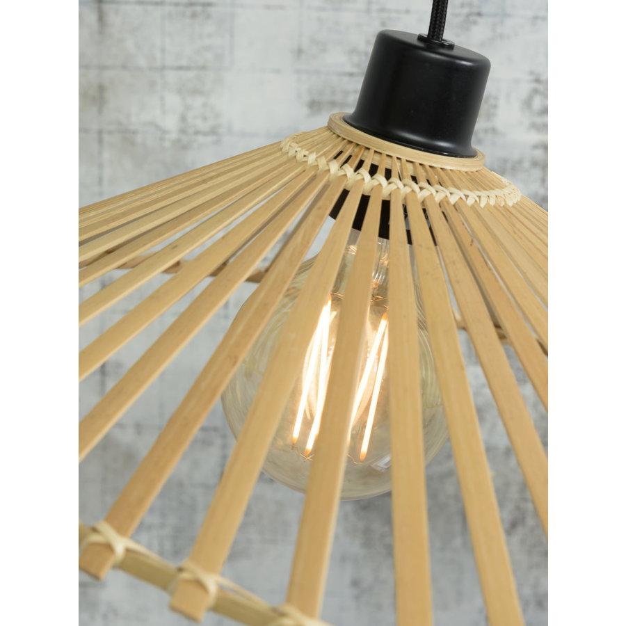 Hanglamp BROMO bamboe naturel met asymmetrische lampenkap in 3 maten-8