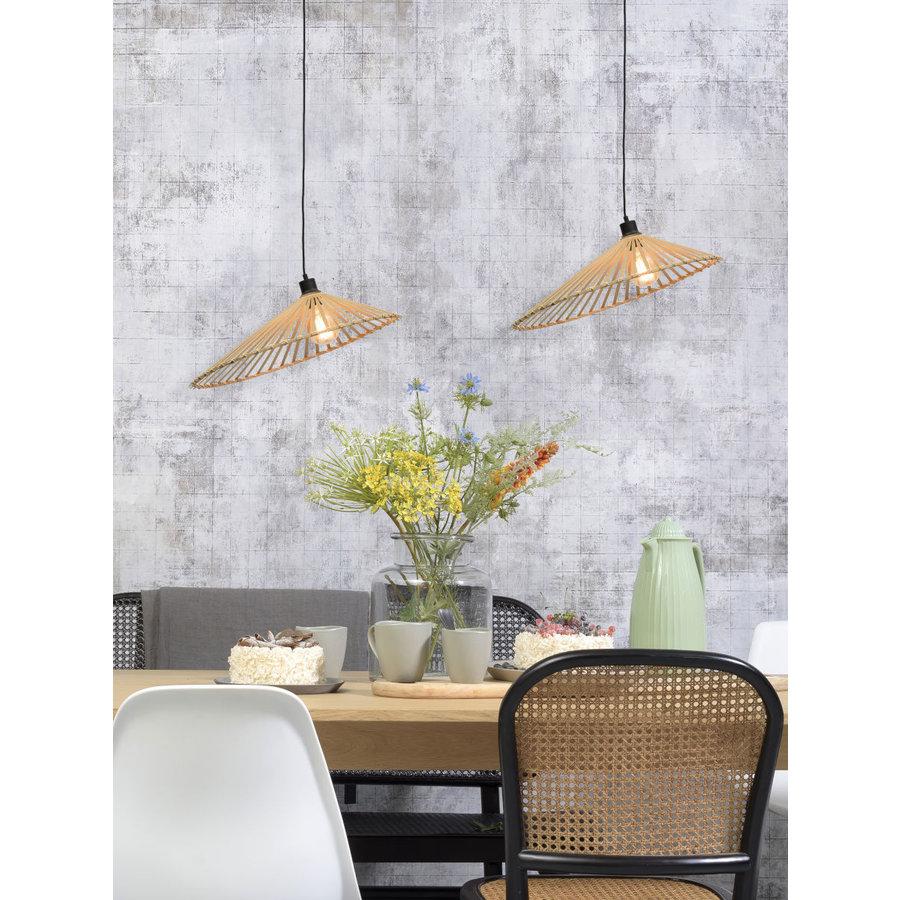 Hanglamp BROMO bamboe naturel met asymmetrische lampenkap in 3 maten-6