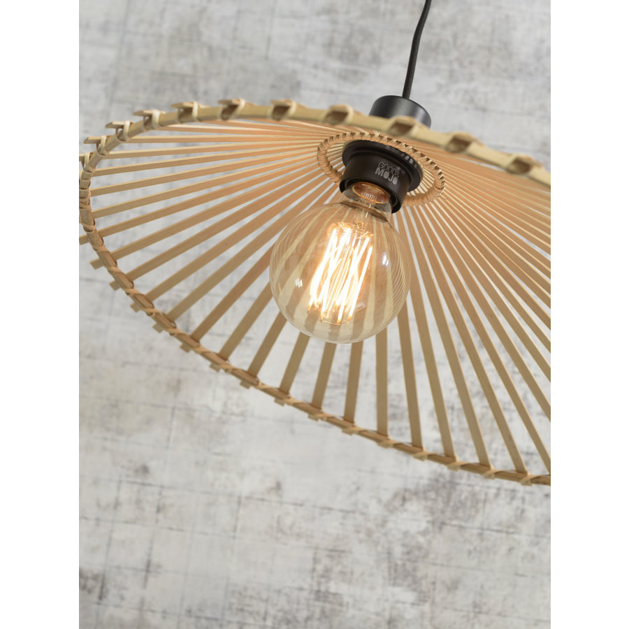 Hanglamp BROMO bamboe naturel met asymmetrische lampenkap in 3 maten-9