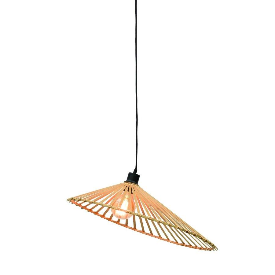 Hanglamp BROMO bamboe naturel met asymmetrische lampenkap in 3 maten-3