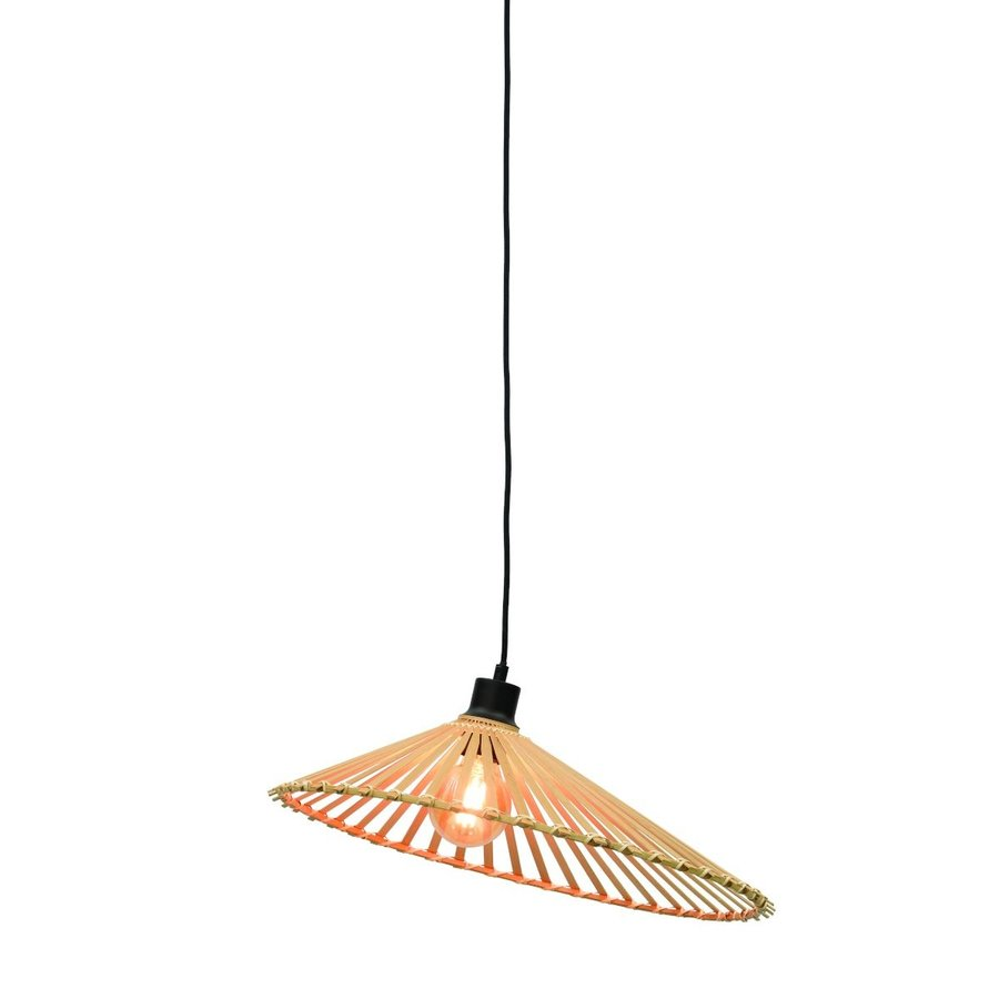 Hanglamp BROMO bamboe naturel met asymmetrische lampenkap in 3 maten-2