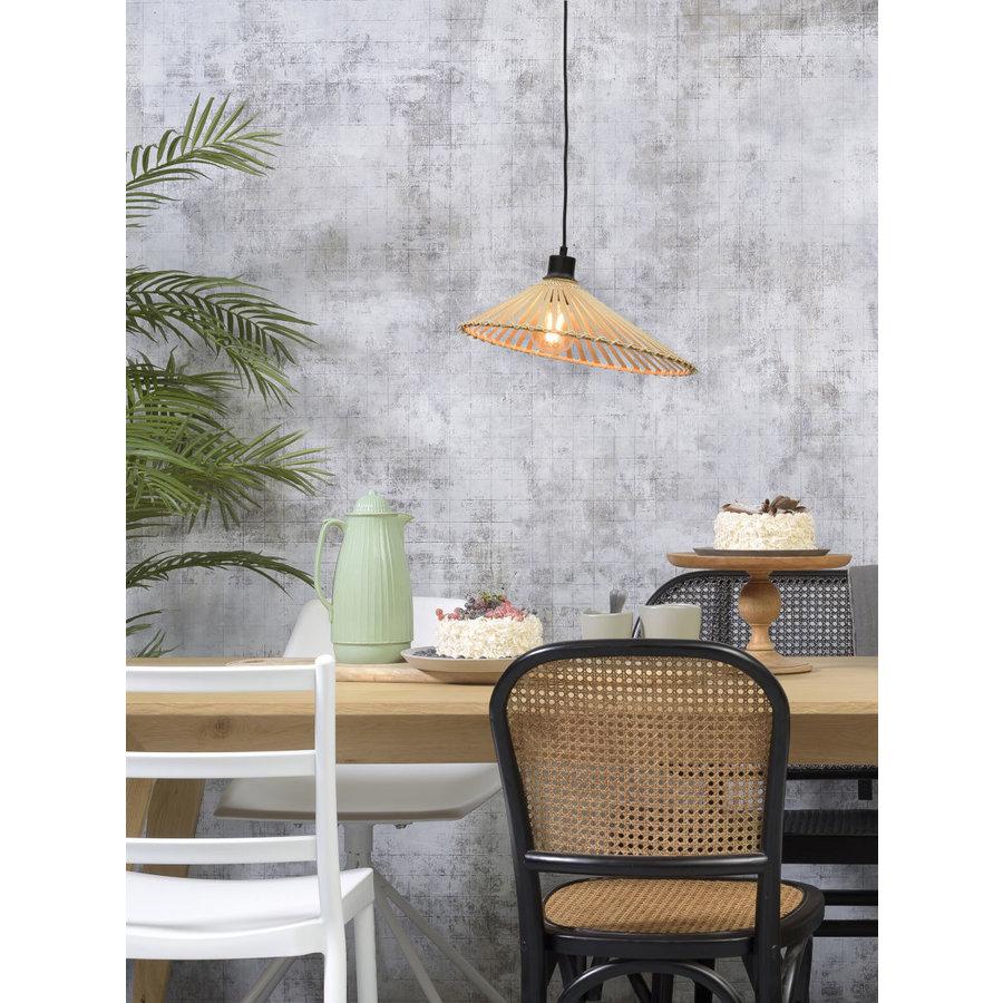 Hanglamp BROMO bamboe naturel met asymmetrische lampenkap in 3 maten-4