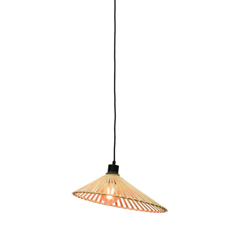 Hanglamp BROMO bamboe naturel met asymmetrische lampenkap in 3 maten-1