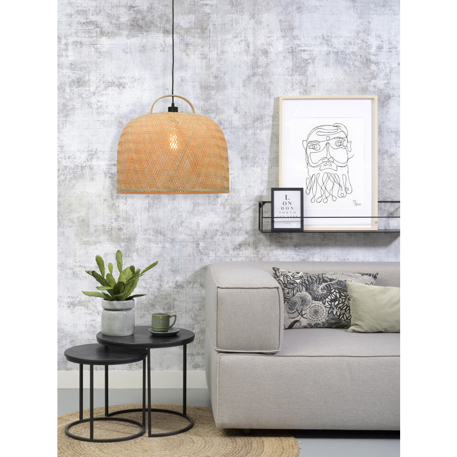 Hanglamp SERENGETIE bamboe naturel met ronde lampenkap in 2 maten-7