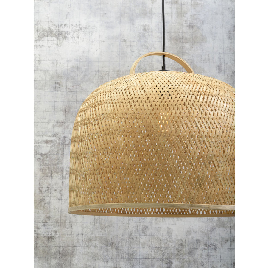 Hanglamp SERENGETIE bamboe naturel met ronde lampenkap in 2 maten-10