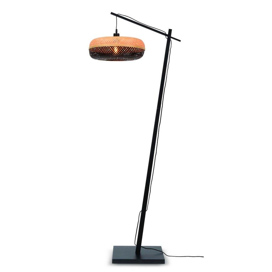 Vloerlamp PALAWAN bamboe zwart met lampenkap in 2 maten-2
