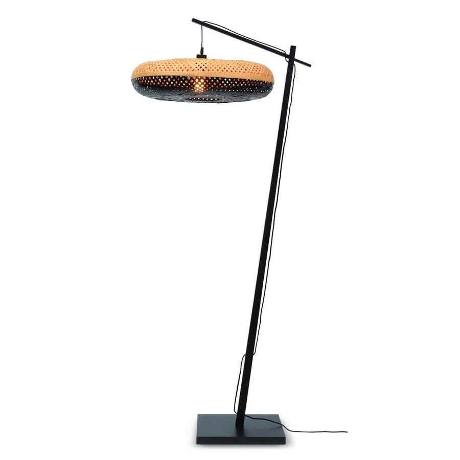 Vloerlamp PALAWAN bamboe zwart met lampenkap in 2 maten-5