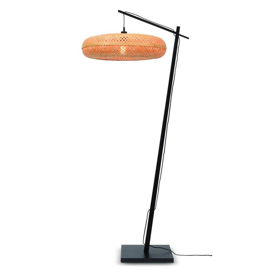 Vloerlamp PALAWAN bamboe zwart met lampenkap in 2 maten-6