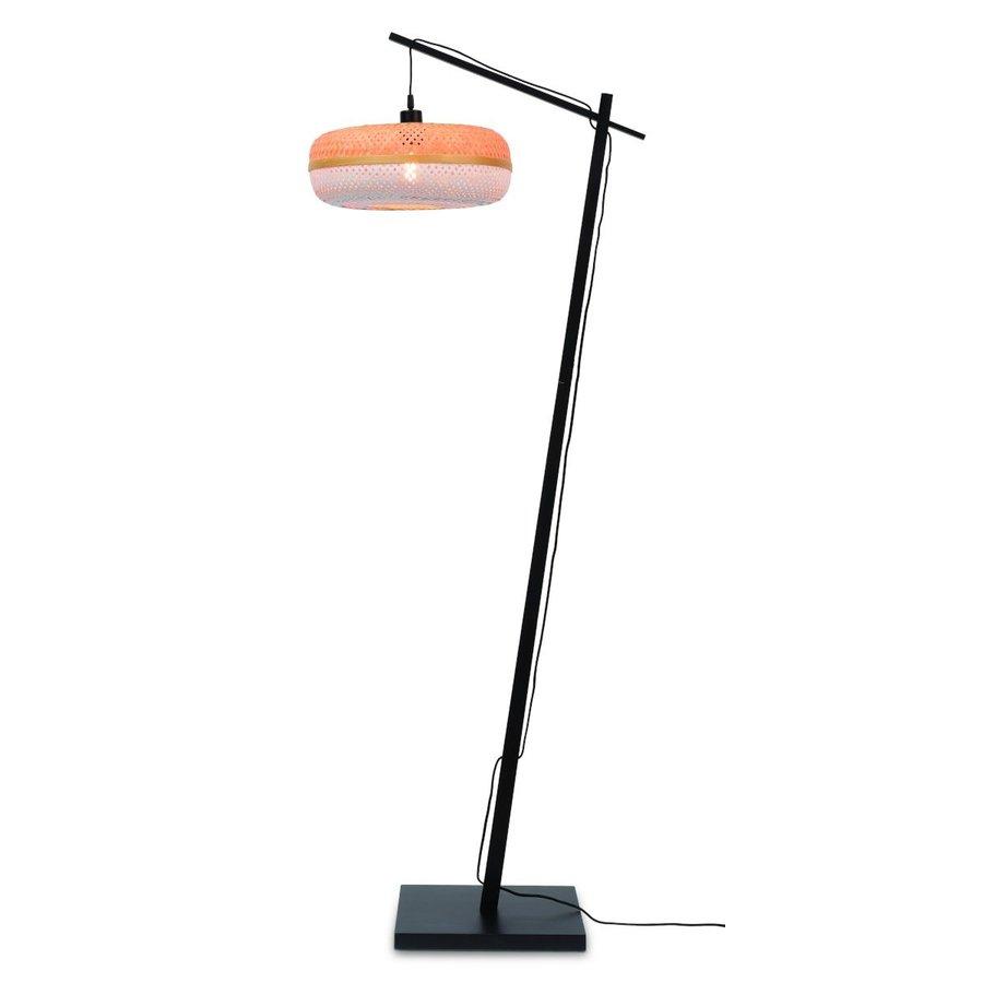 Vloerlamp PALAWAN bamboe zwart met lampenkap in 2 maten-1
