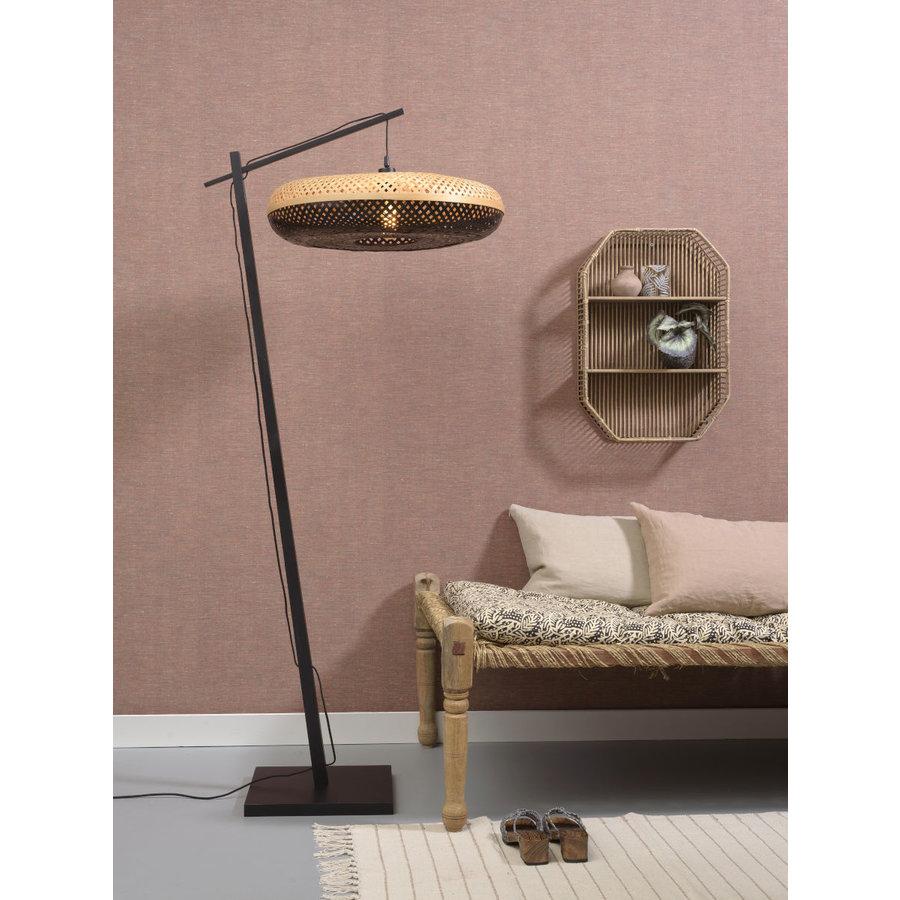 Vloerlamp PALAWAN bamboe zwart met lampenkap in 2 maten-9