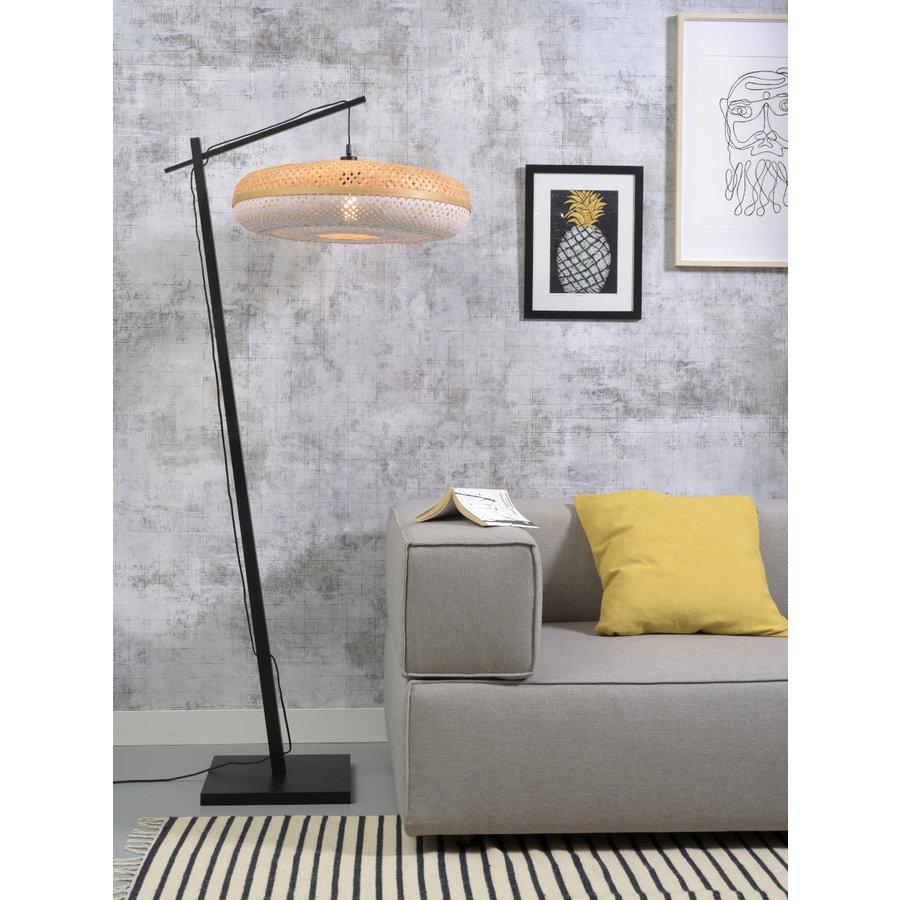 Vloerlamp PALAWAN bamboe zwart met lampenkap in 2 maten-8