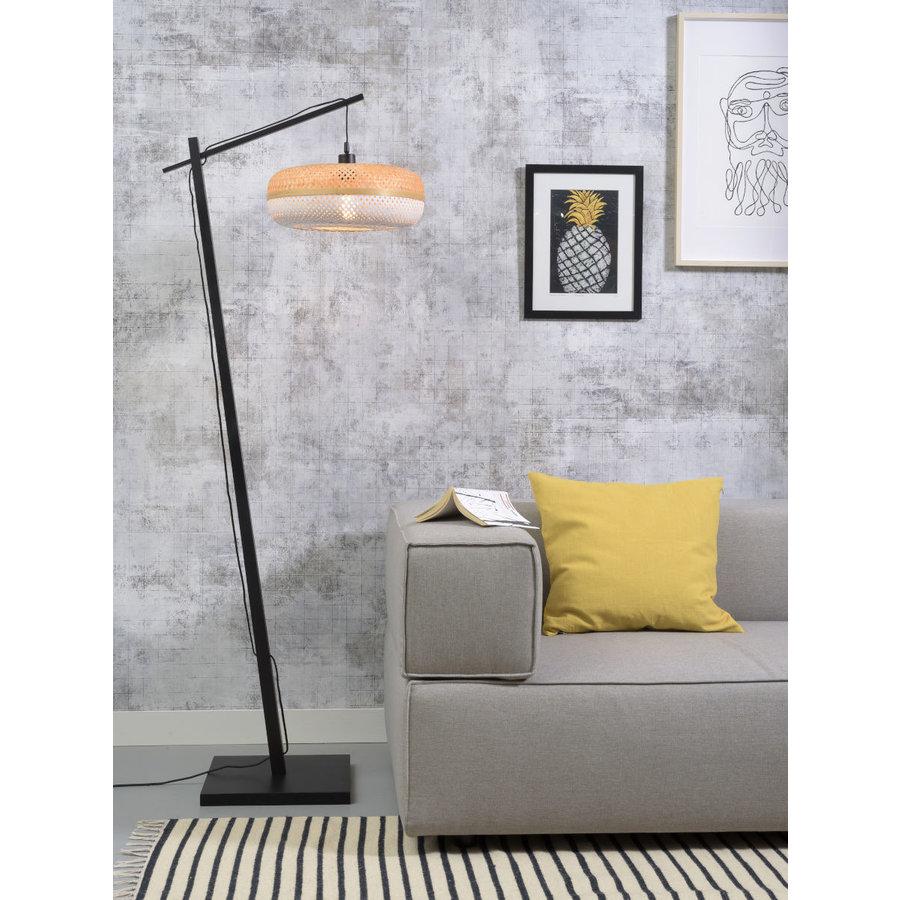Vloerlamp PALAWAN bamboe zwart met lampenkap in 2 maten-7
