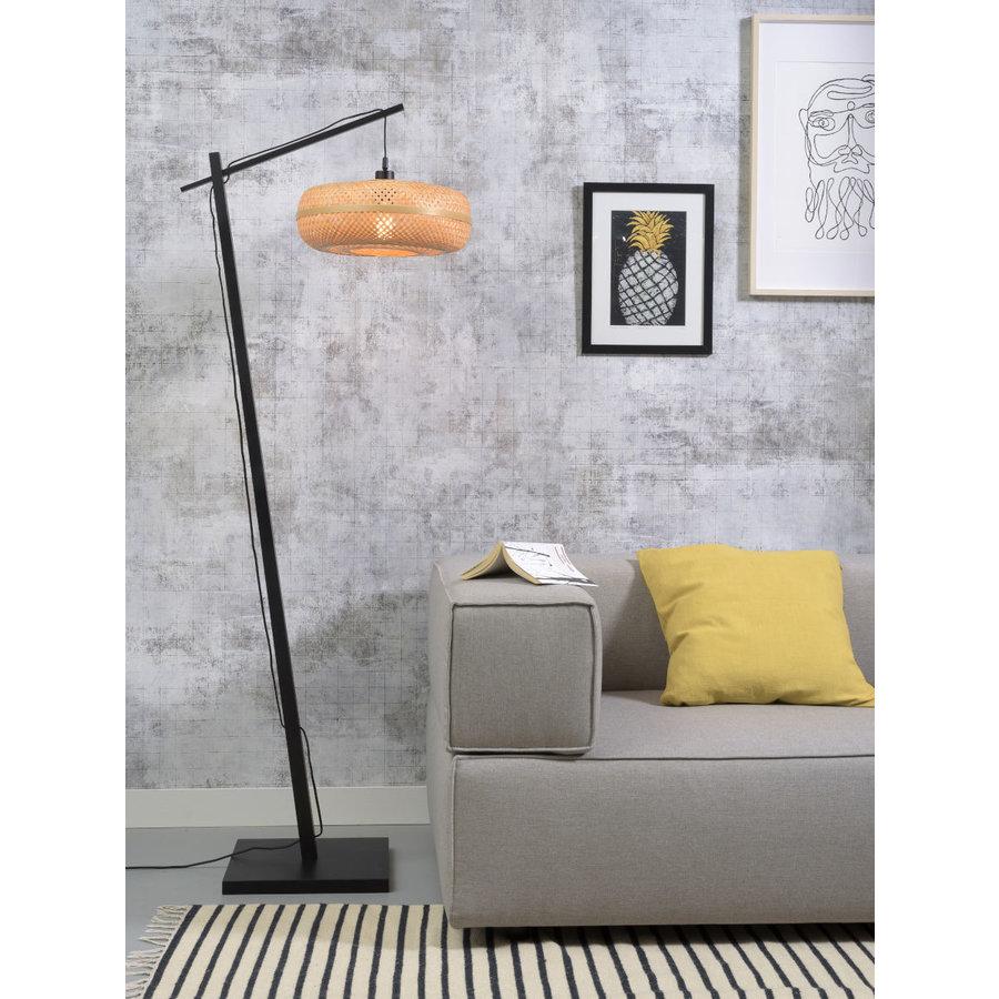Vloerlamp PALAWAN bamboe zwart met lampenkap in 2 maten-10