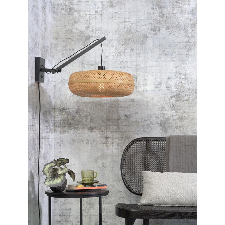 Wandlamp Palawan bamboe zwart met arm Small-6