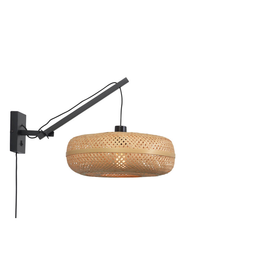Wandlamp Palawan bamboe zwart met arm Small-3