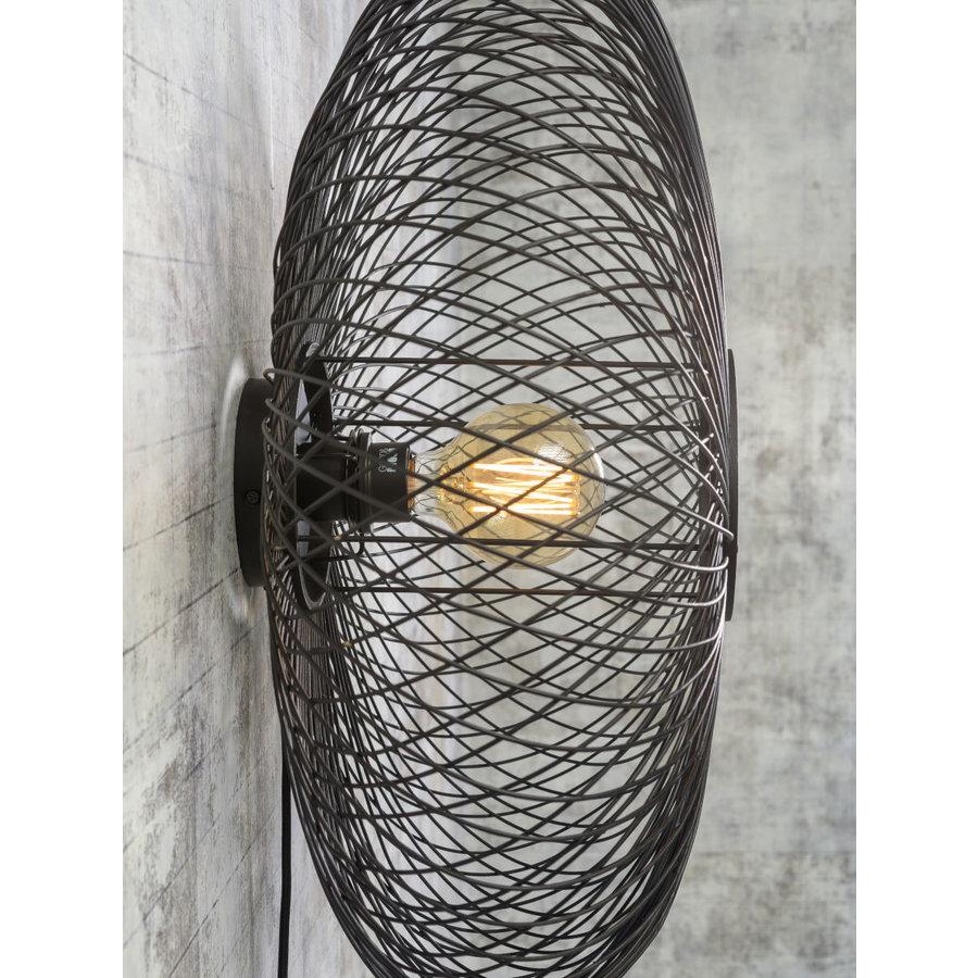 Wandlamp Cango bamboe verticaal rond in zwart of naturel-6
