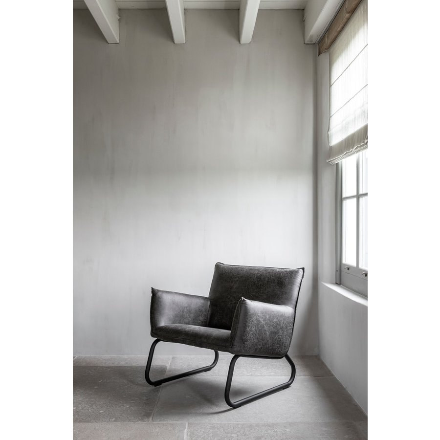 Fauteuil Snake in cognac of charcoal-8