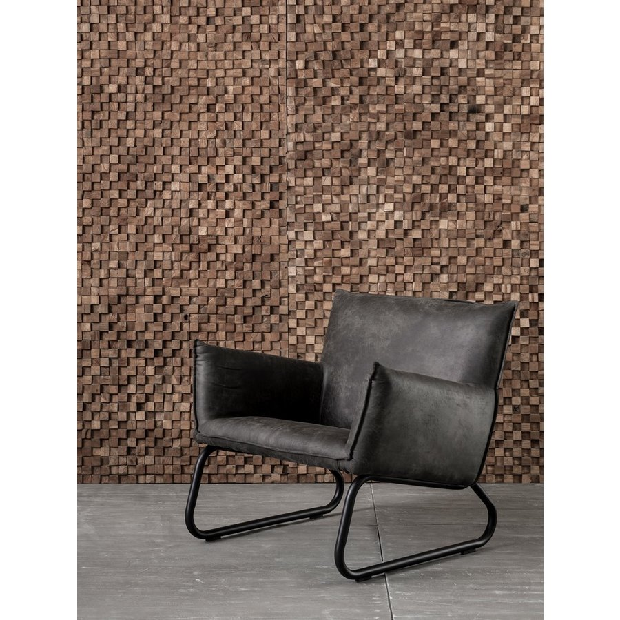 Fauteuil Snake in cognac of charcoal-10