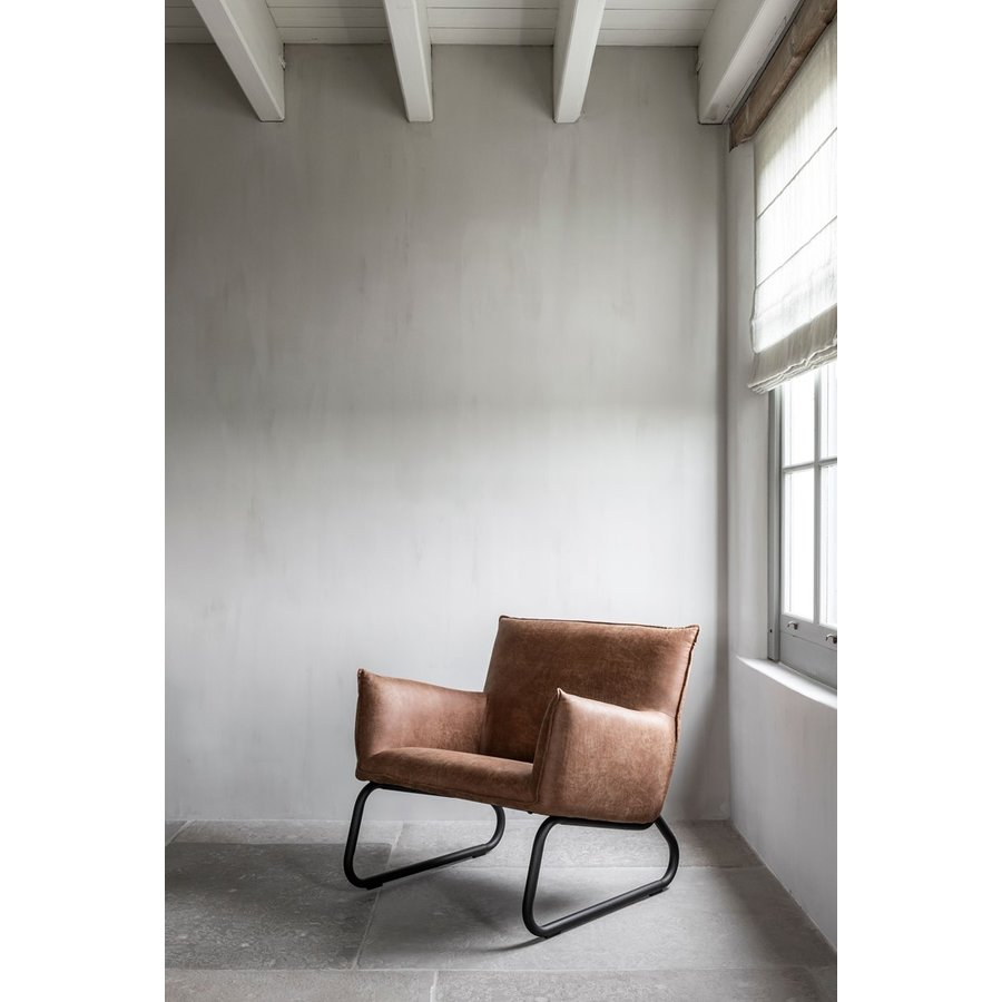 Fauteuil Snake in cognac of charcoal-9