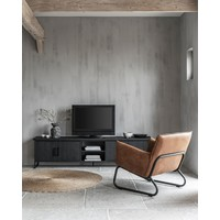 thumb-Fauteuil Snake in cognac of charcoal-5