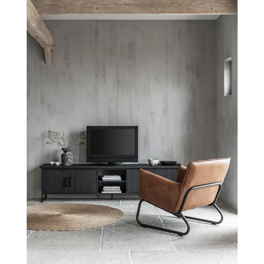 Fauteuil Snake in cognac of charcoal-5