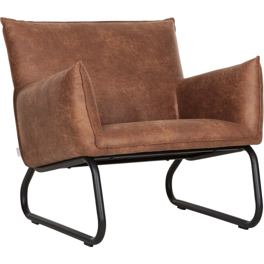 Fauteuil Snake in cognac of charcoal-1