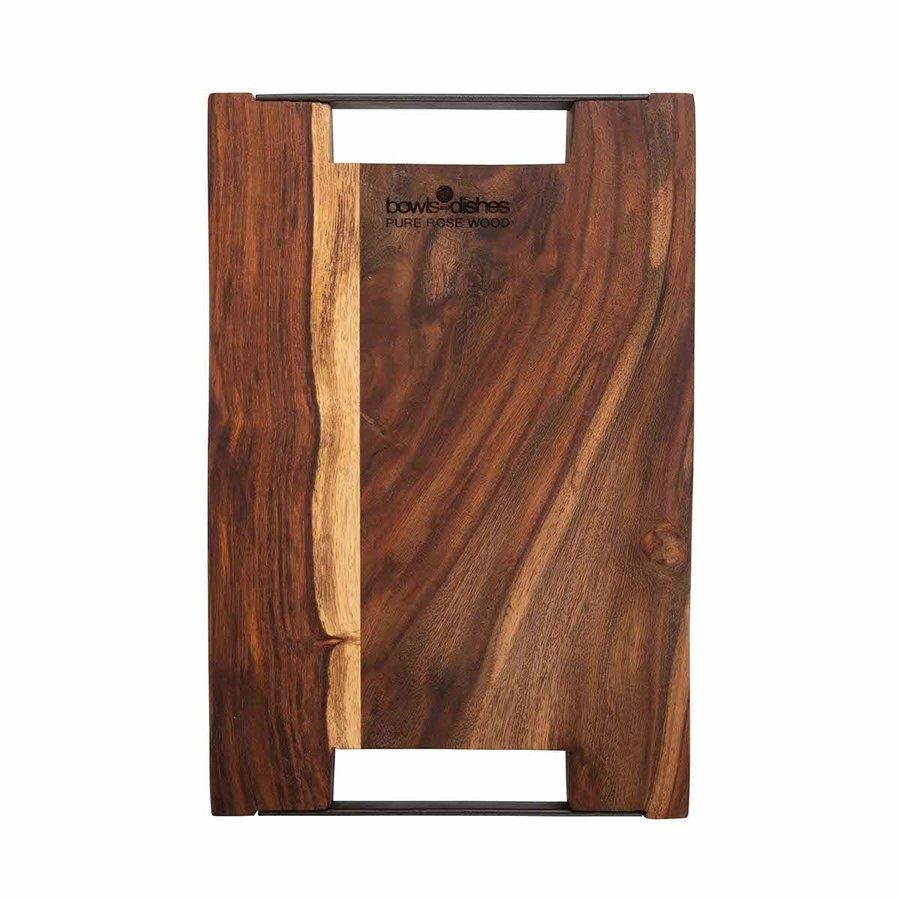 Pure Rose Wood Serveerplank 2 metalen handvatten 40 x 30 cm-2