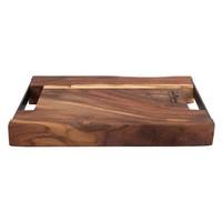 thumb-Pure Rose Wood Serveerplank 2 metalen handvatten 40 x 30 cm-1