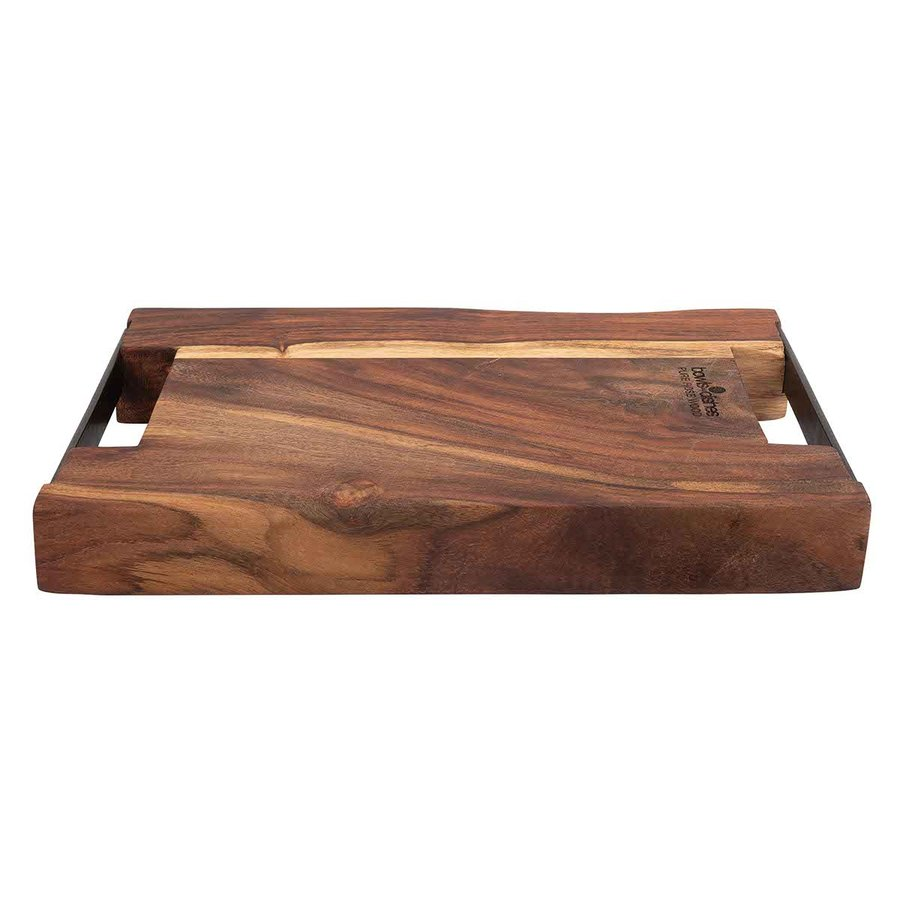 Pure Rose Wood Serveerplank 2 metalen handvatten 40 x 30 cm-1