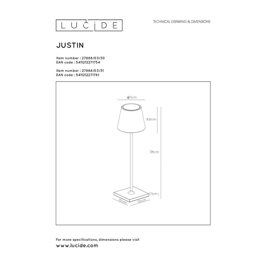 Lucide Buitentafellamp Justin in zwart en wit-10