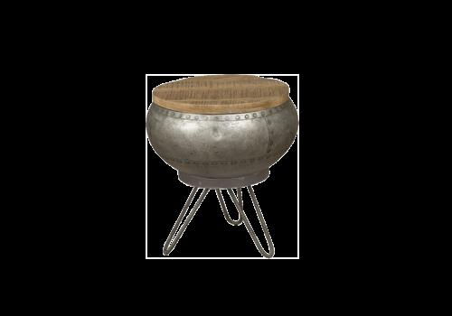 Ronde Salontafel van Mangohout en mat metaal