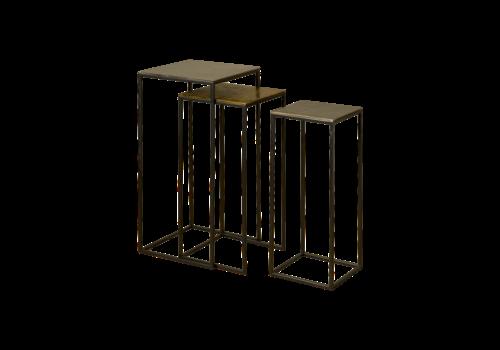 Vierkante Bijzettafel set van 3, mat zwart metaal