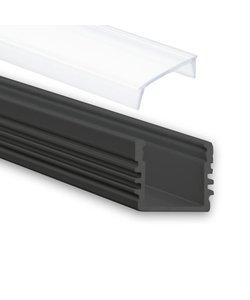 LED profiel 2 meter inclusief afdekking 02ZWART