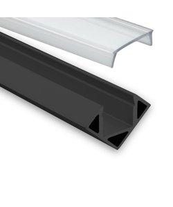 LED hoekprofiel 2 meter inclusief afdekking – 23ZWART