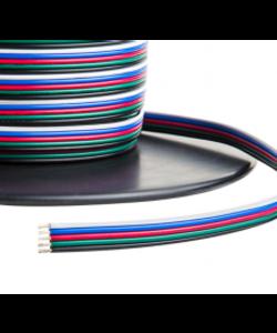 5 aderige RGBWW LED strip stroomkabel 1 meter - 0,75 kwadraat