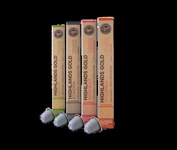 Highlands Gold - Proefpakket (Organic) - Compatible cups voor Nespresso - 40 cups