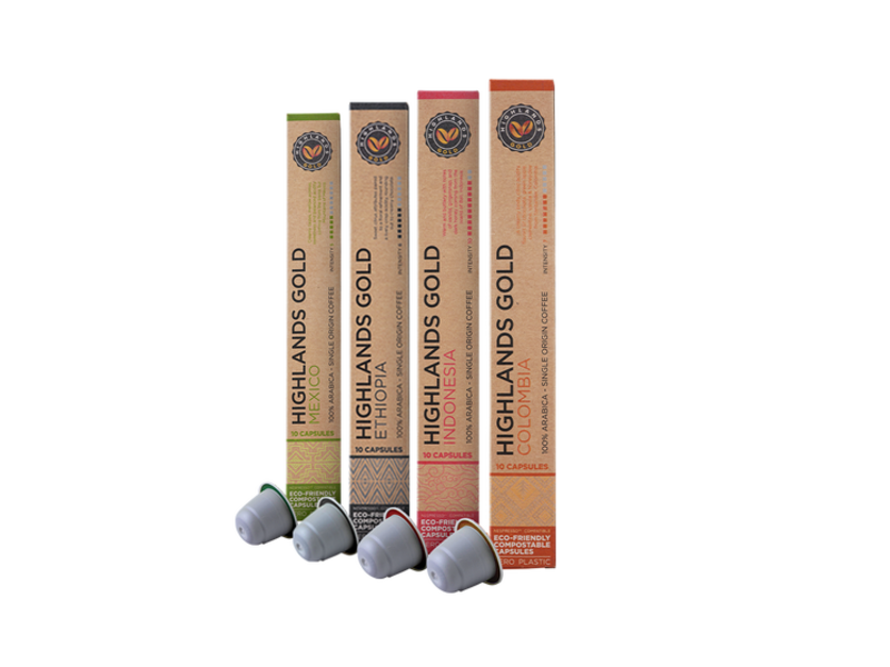 Highlands Gold Highlands Gold - Paquete (Organic) - Compatible cápsulas para Nespresso - 40 cups