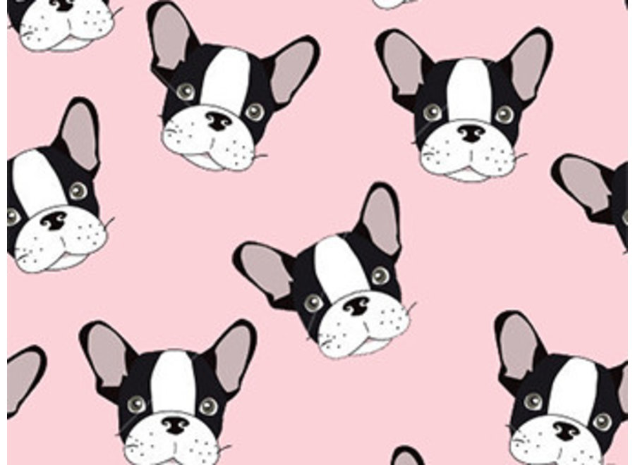kinderkamerkleed vinyl | Frenchie  roze