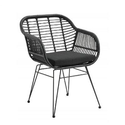 Nordal Nordal - Garden chair w. armrest & cushion, black - Tuinstoel met armleuning (incl. kussens) - Zwart